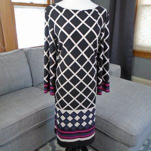 Jessica Howard Black White Print Shift Dress Sz XL